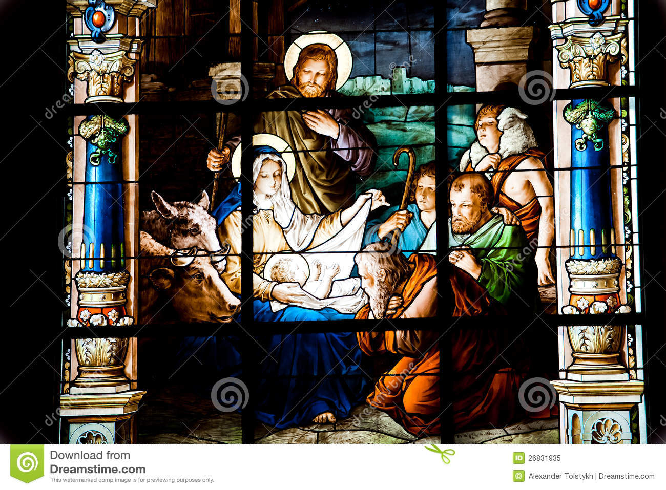 Nativity Scene. Stained Glass Window Royalty Free Stock Photo - Image ...