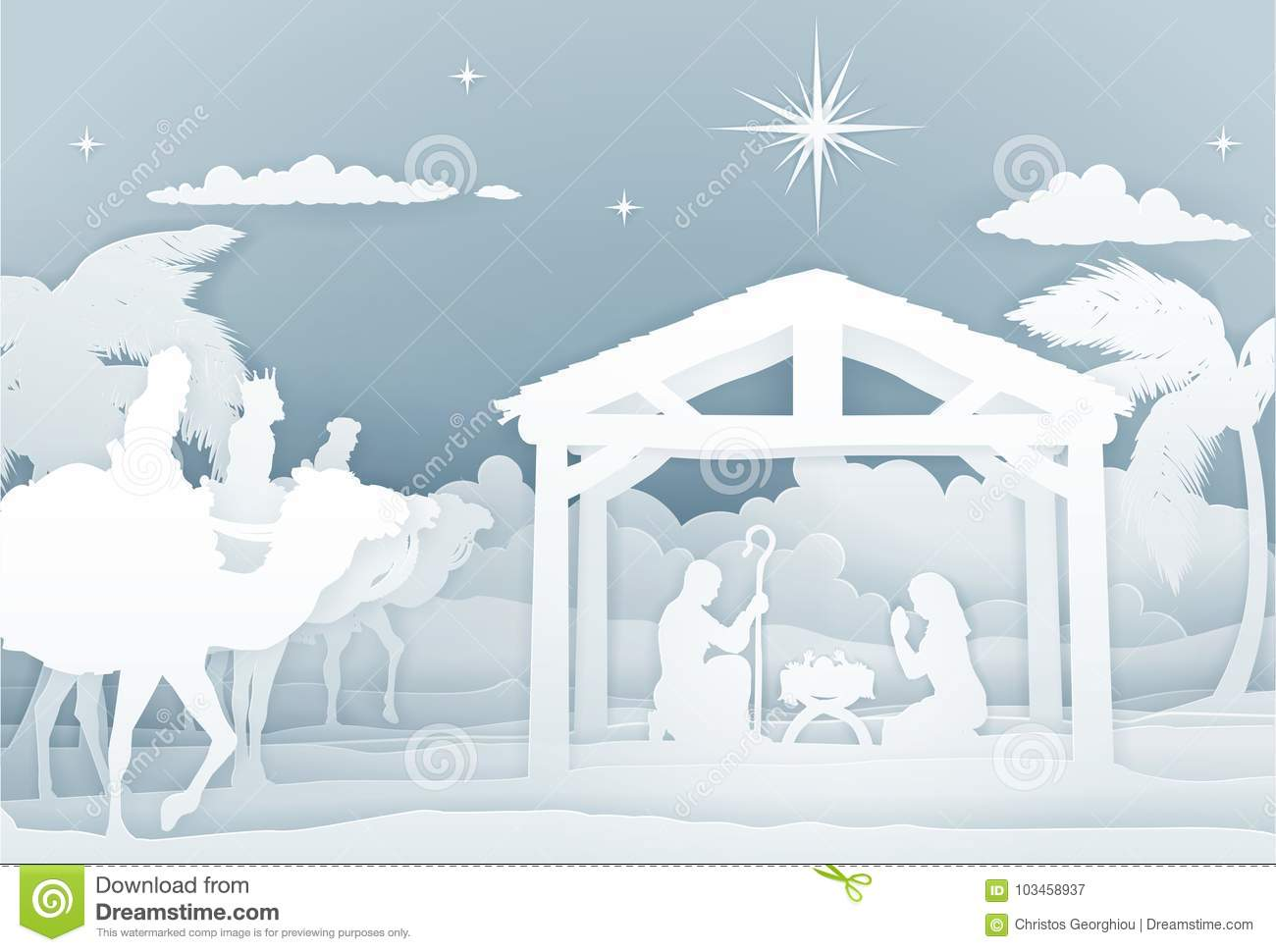 Nativity Scene With Three Wise Men Stock Vector - Illustration of ...