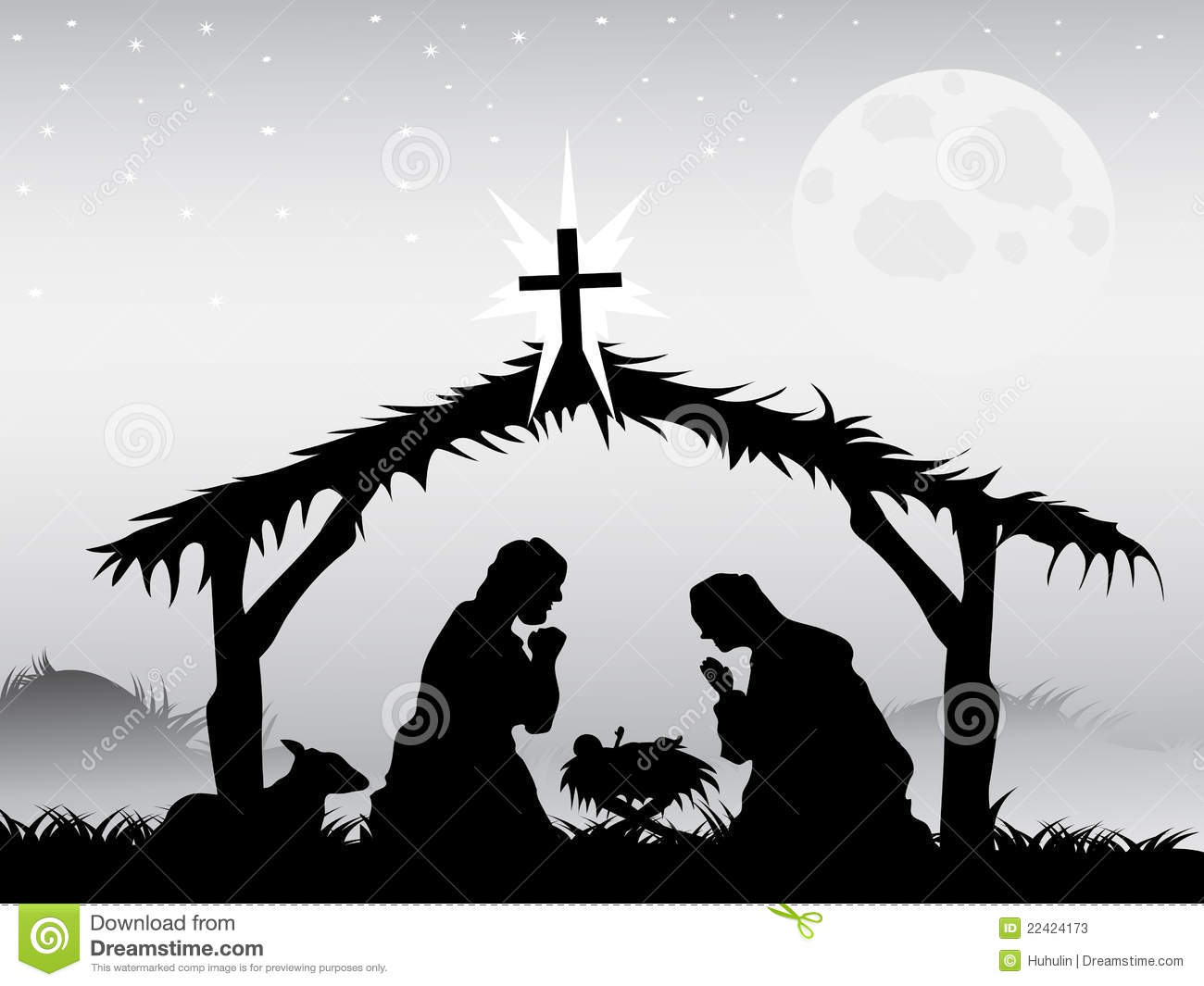 picture relating to Nativity Scene Silhouette Printable named Nativity scene,vector inventory vector. Instance of christ