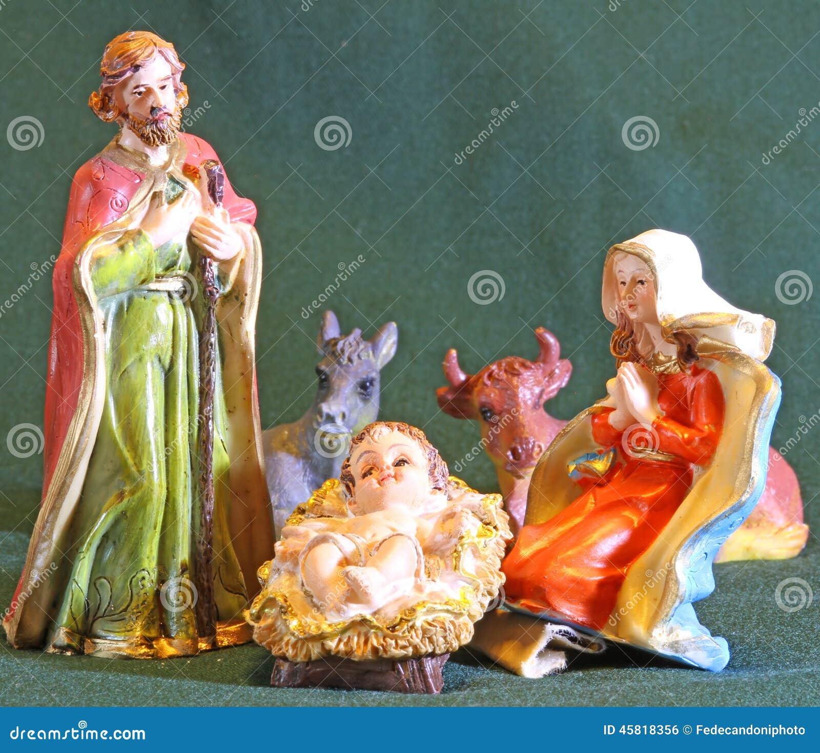 christmas nativity scene baby jesus mary joseph stock photos