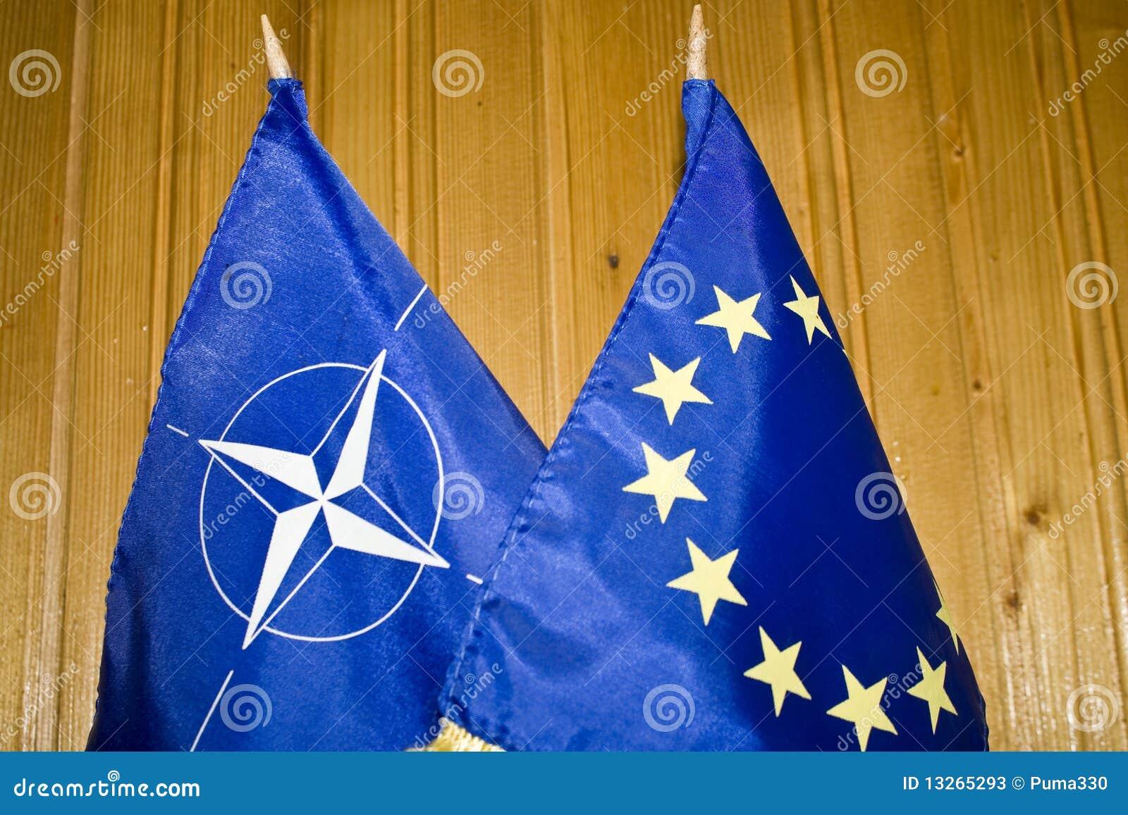 NATO and EU flags
