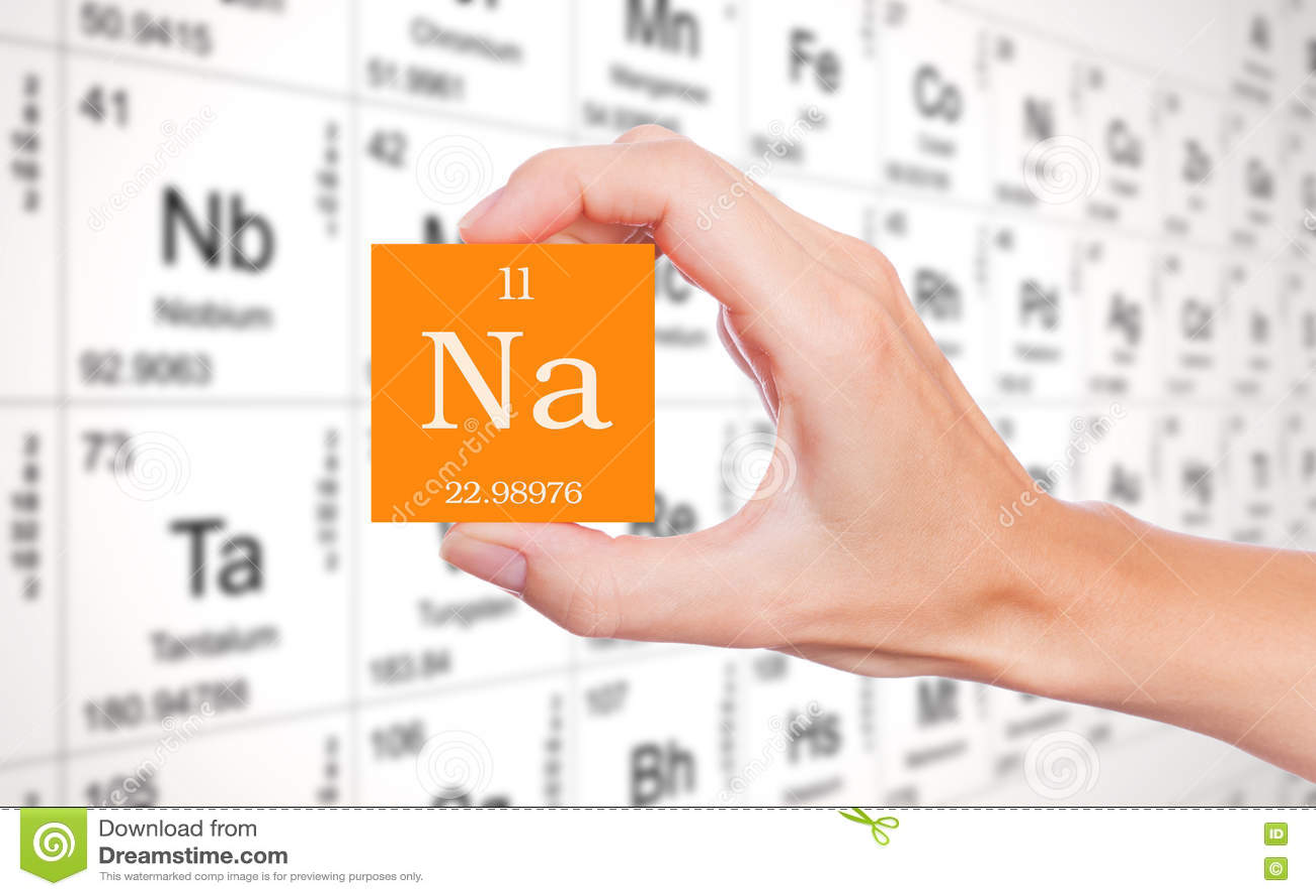 Natrium Element On Orange Square Stock Photo Image Of Element