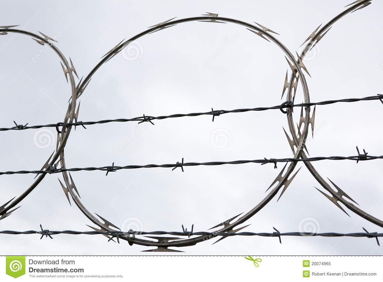 Natsy Looking Barbed Wire stock image. Image of clouds - 20074965