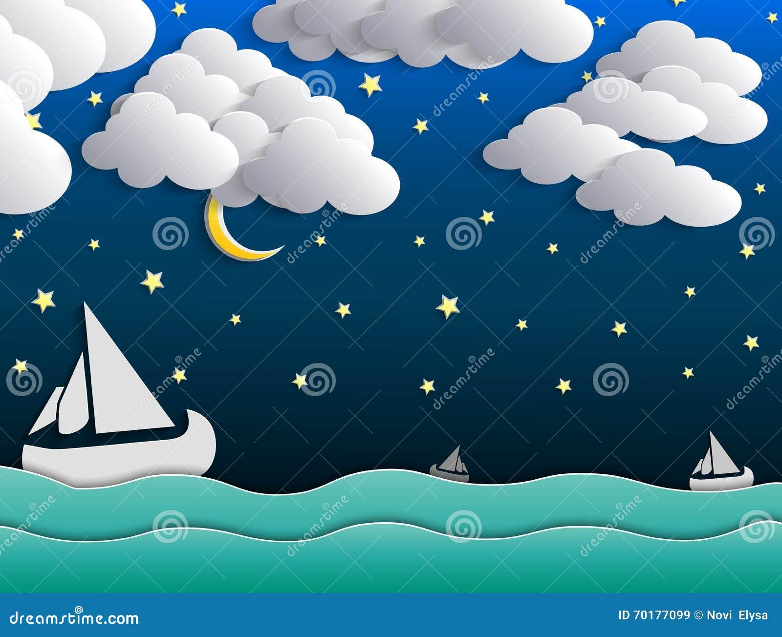 Nattbakgrund, måne, moln och stjärnor på mörker - blå himmel på havet