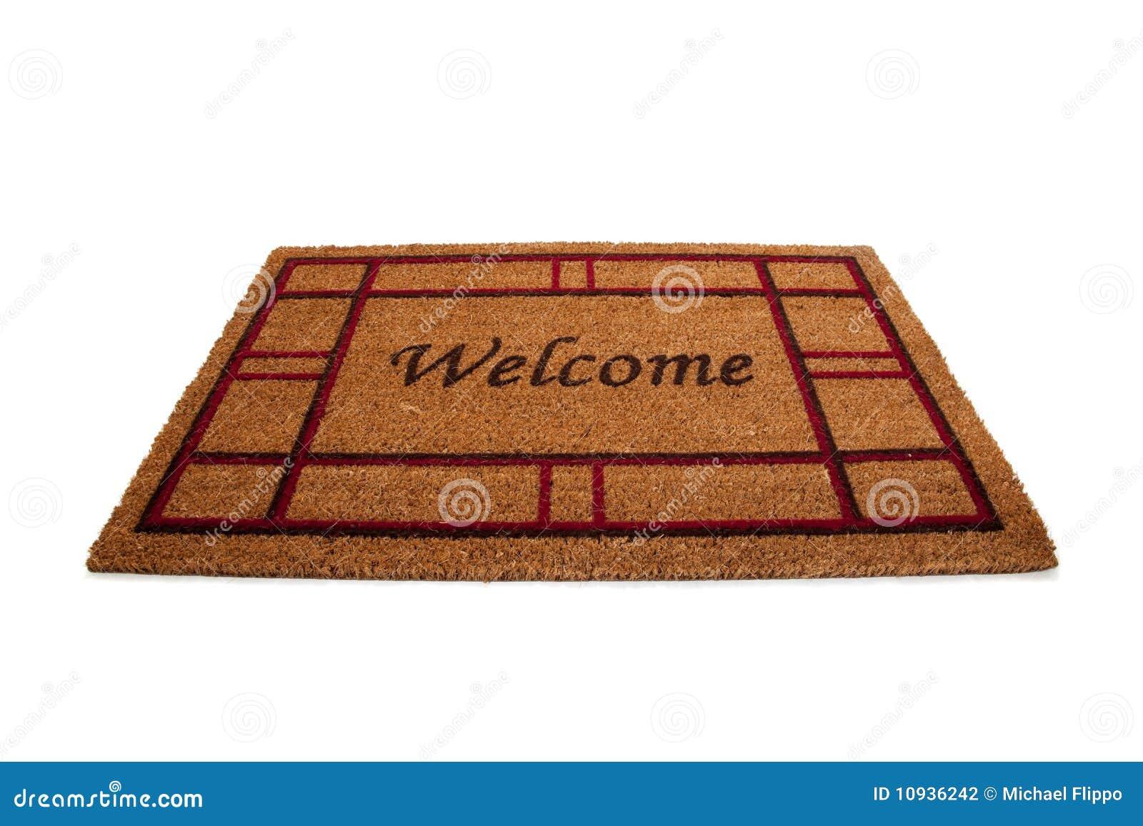 natte ou tapis bienvenue sur le blanc photographie stock. Black Bedroom Furniture Sets. Home Design Ideas