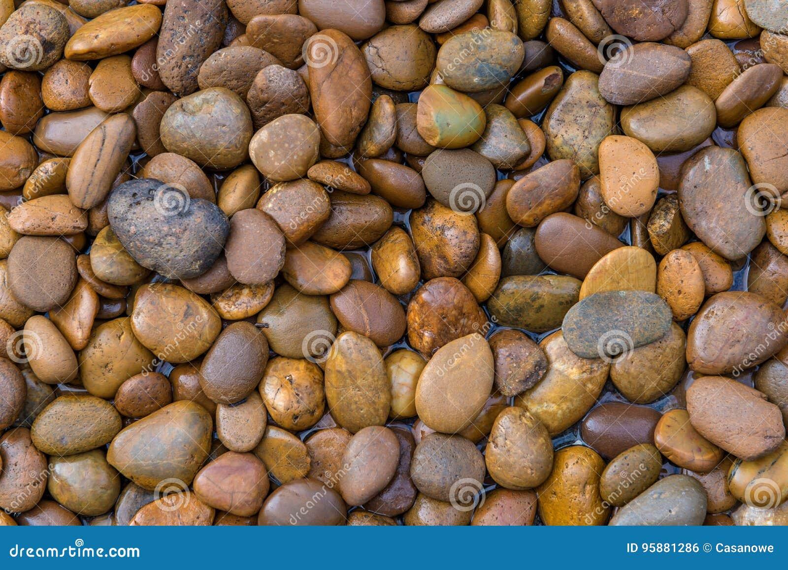Natte stenen donkere kiezelstenen met waterdalingen in tuin voor