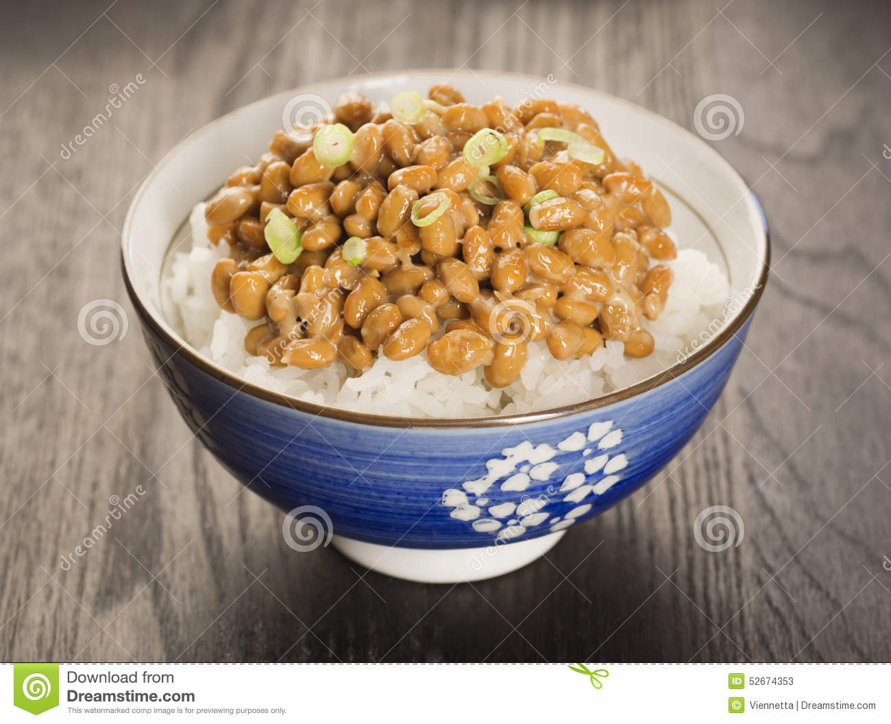 Natto, Japanese Fermented Soybeans, Over Rice Stock Image