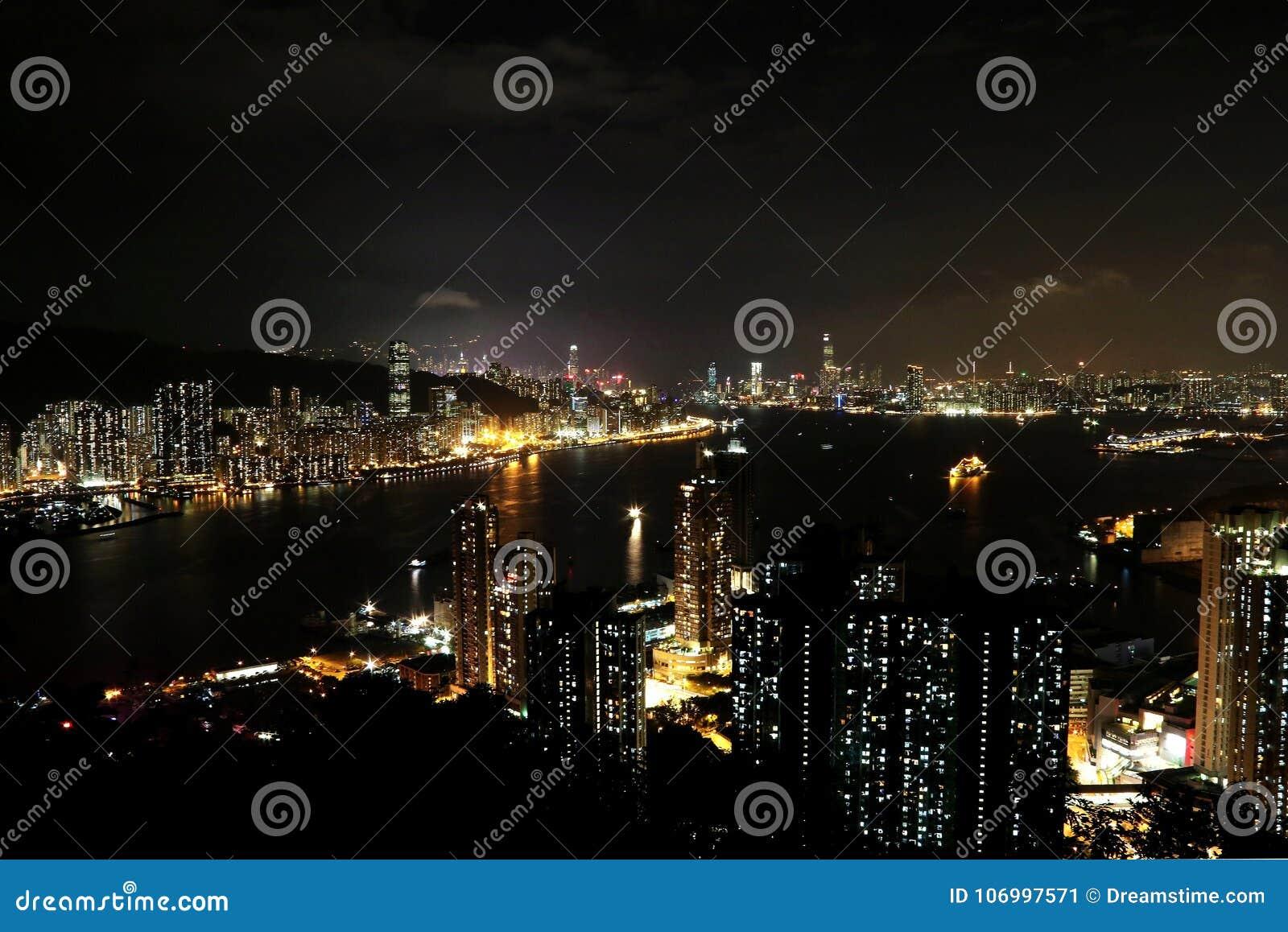Nattsikt på maximumet för jäkel` s, Hong Kong