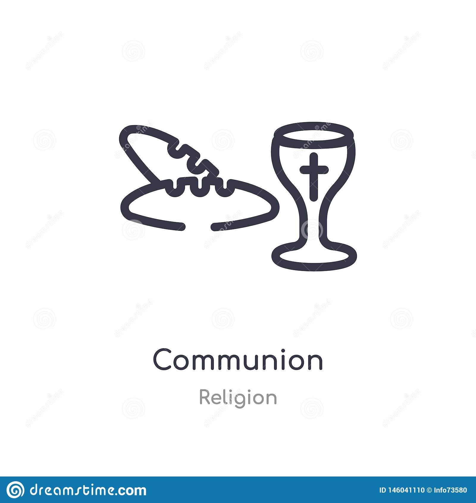 Nattvardsgångöversiktssymbol isolerad linje vektorillustration fr?n religionsamling redigerbar tunn slaglängdnattvardsgångsymbol