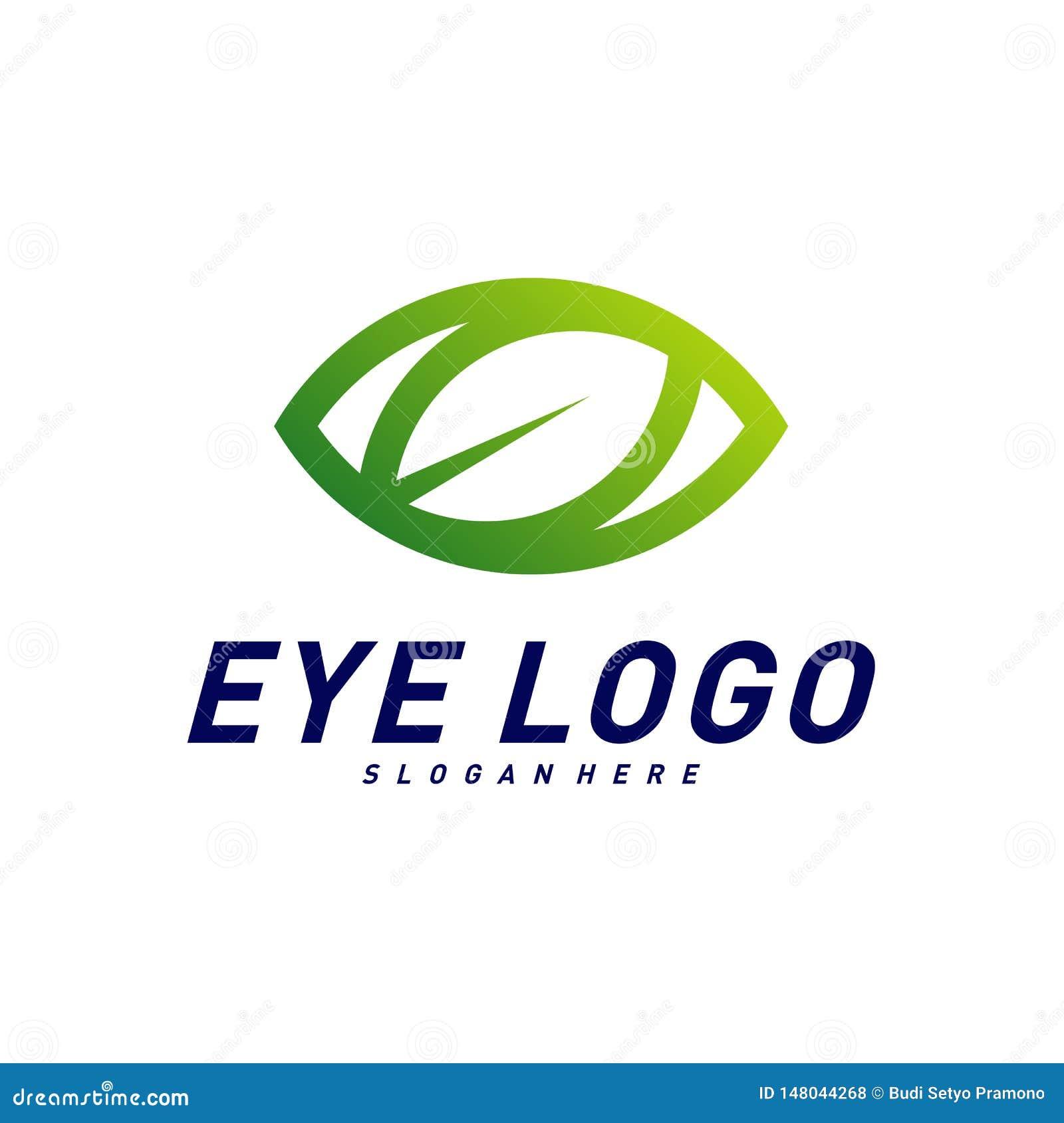 Natur-Augenlogo-Konzept- des Entwurfesvektor, Auge mit Blattlogoschablone, Ikonensymbol