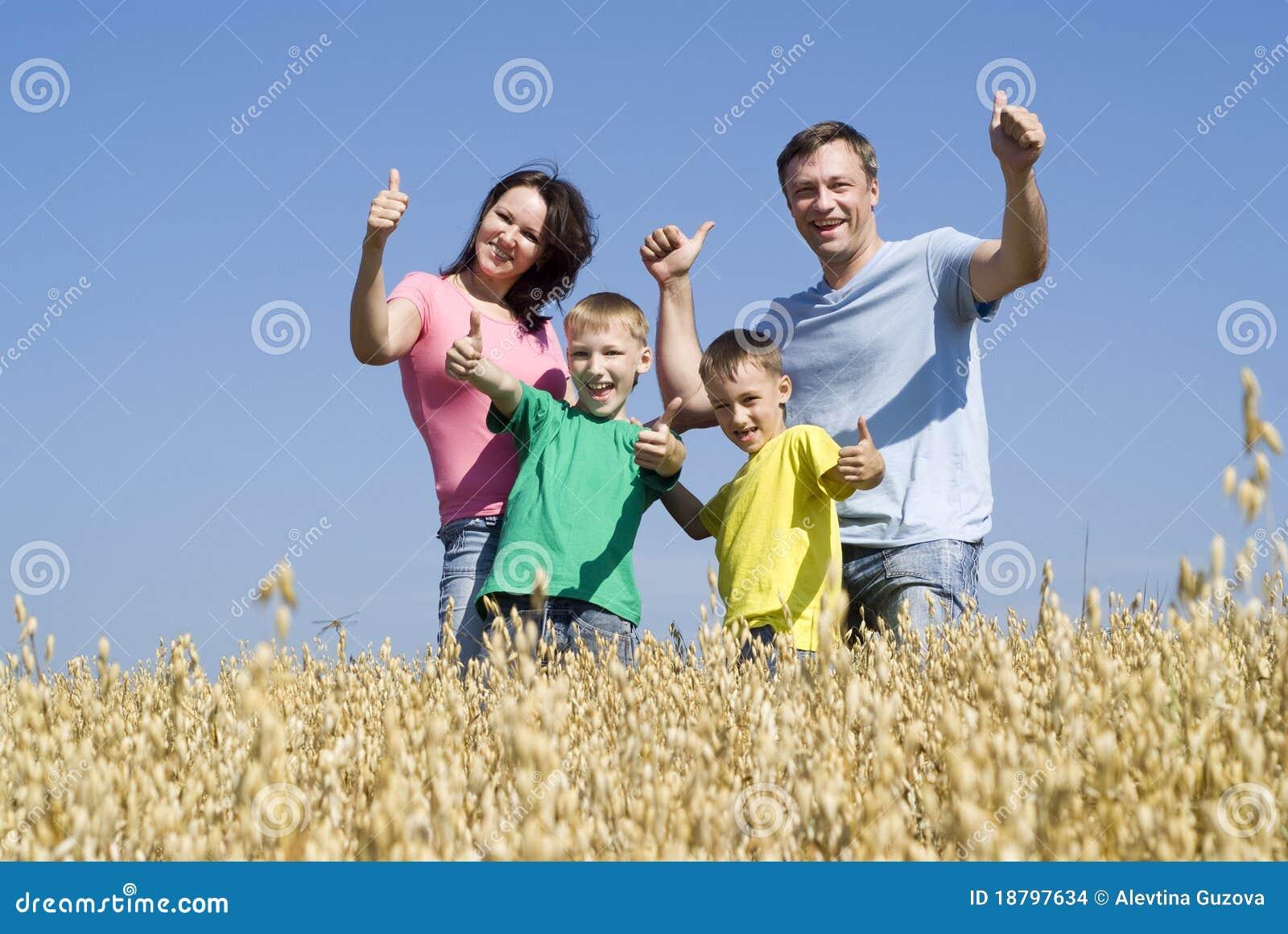 Natur för familj fyra