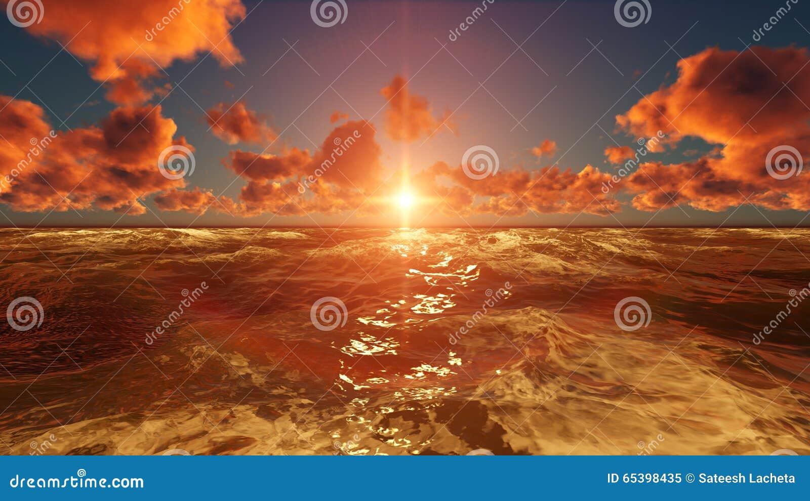Natur-Sonnenuntergang-Szenen-Licht-Reflexion im Ozean