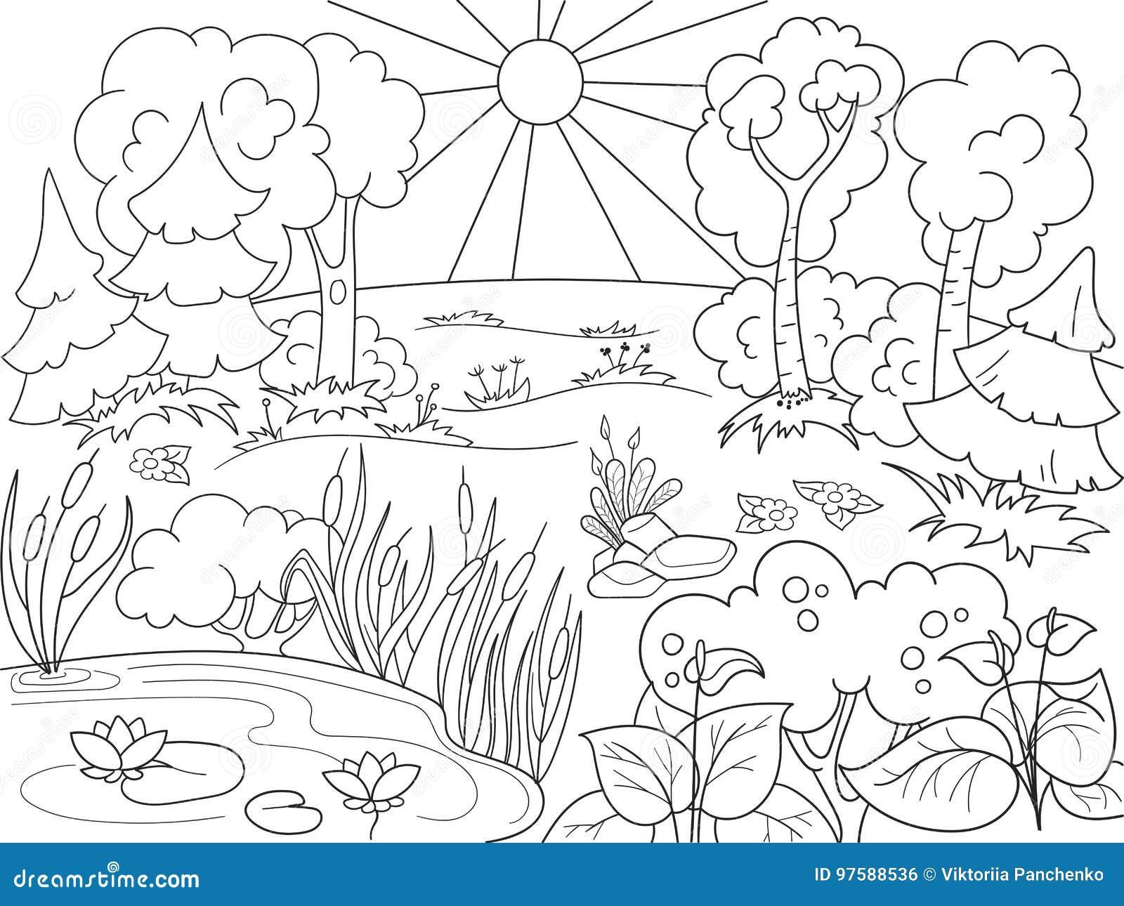 Natura In Bianco E Nero Del Libro Da Colorare Del Fumetto Radura