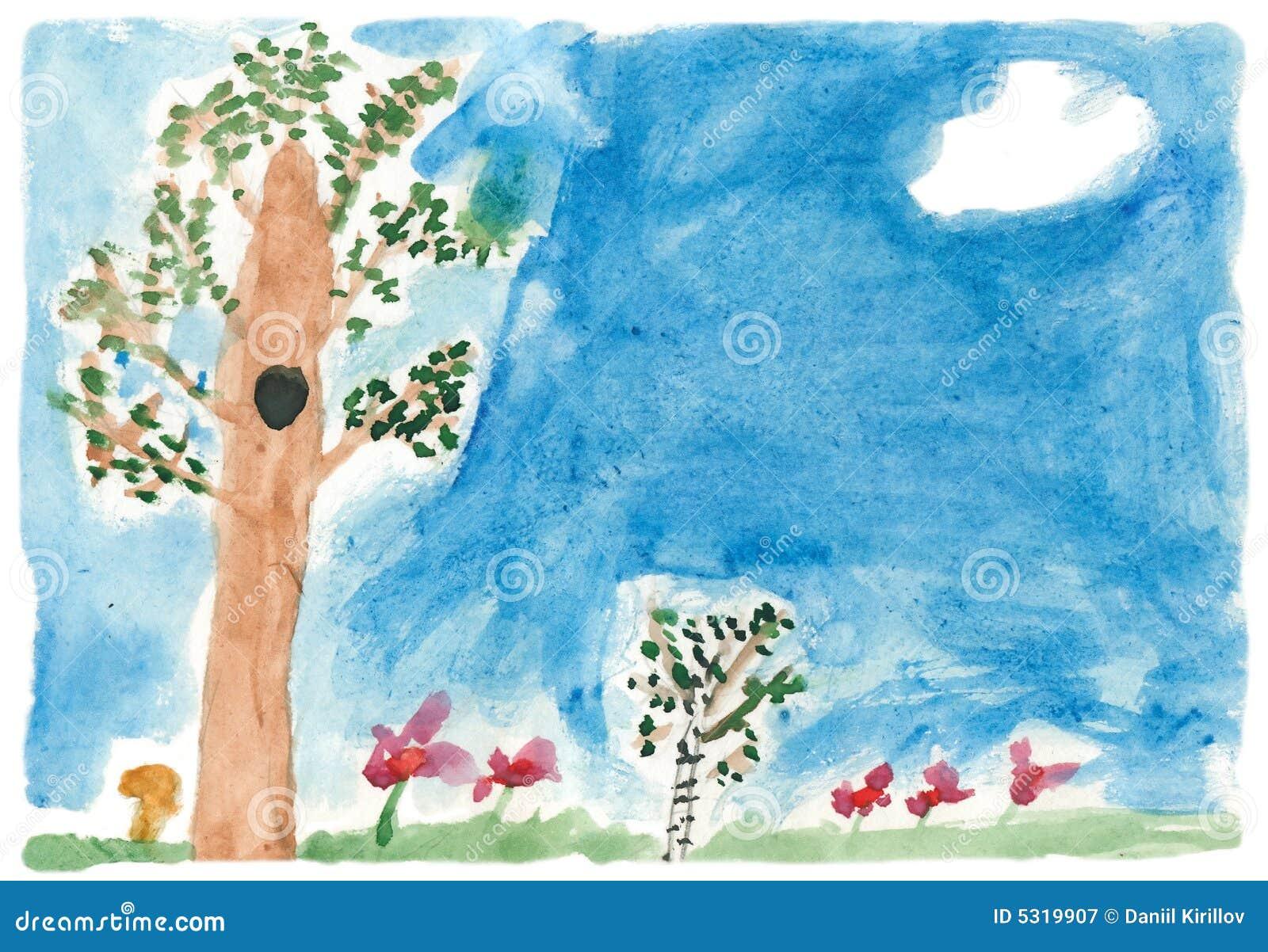 Download Natura Di Estate Della Vernice Dei Bambini Illustrazione di Stock - Illustrazione di erba, pitture: 5319907