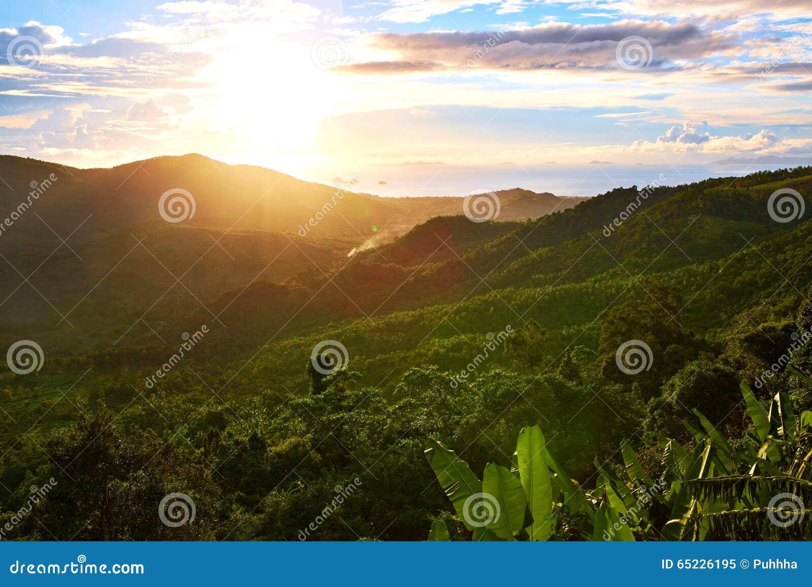 Natura krajobraz Tajlandia zmierzch adobe tło tworzył ilustratora scenerii oprogramowanie environ