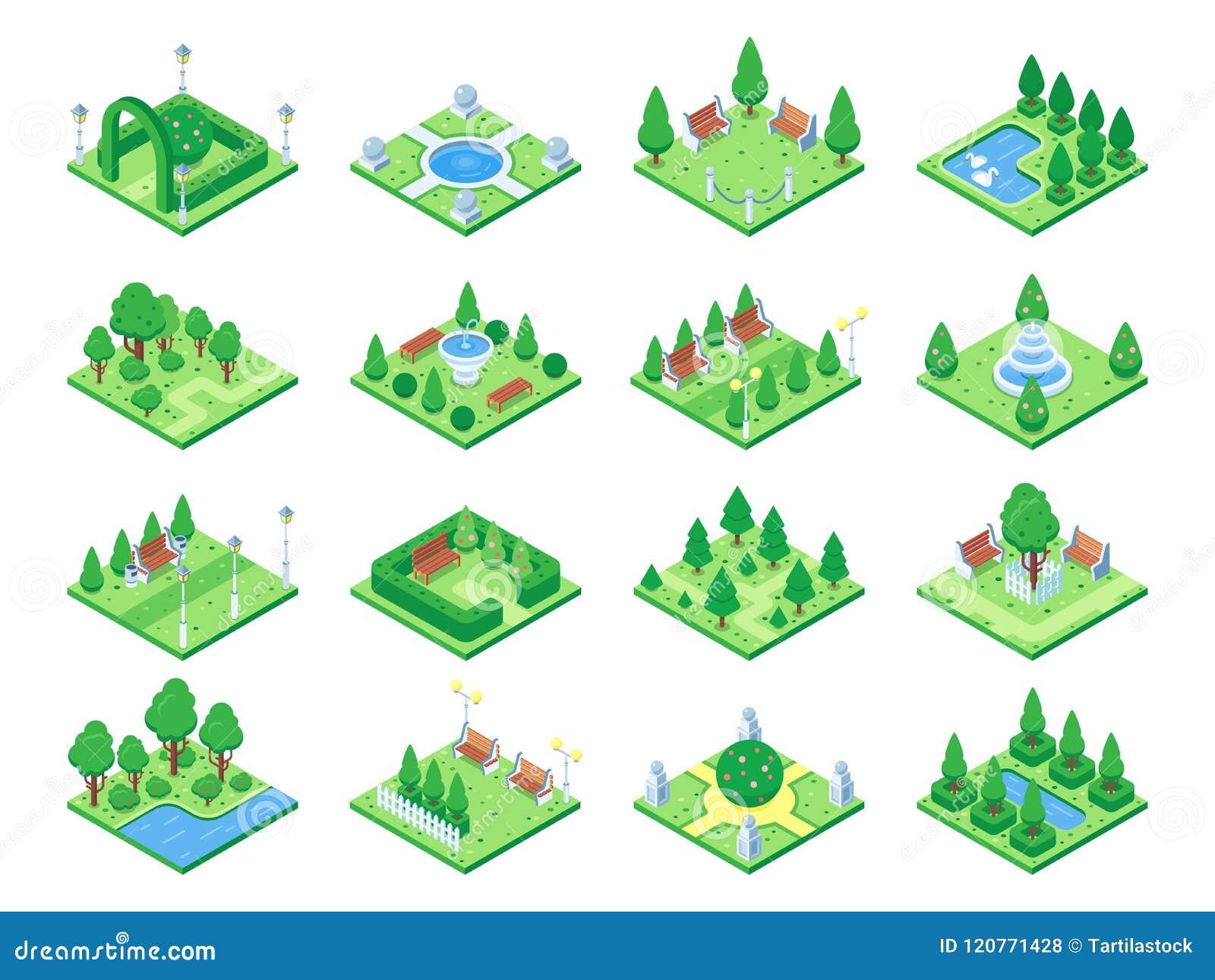 Natura lasowi elementy, roślina symbol i zieleni drzewa dla miasta 3d isometric gemowej mapy, Odosobnione parkowe drzewne wektoro