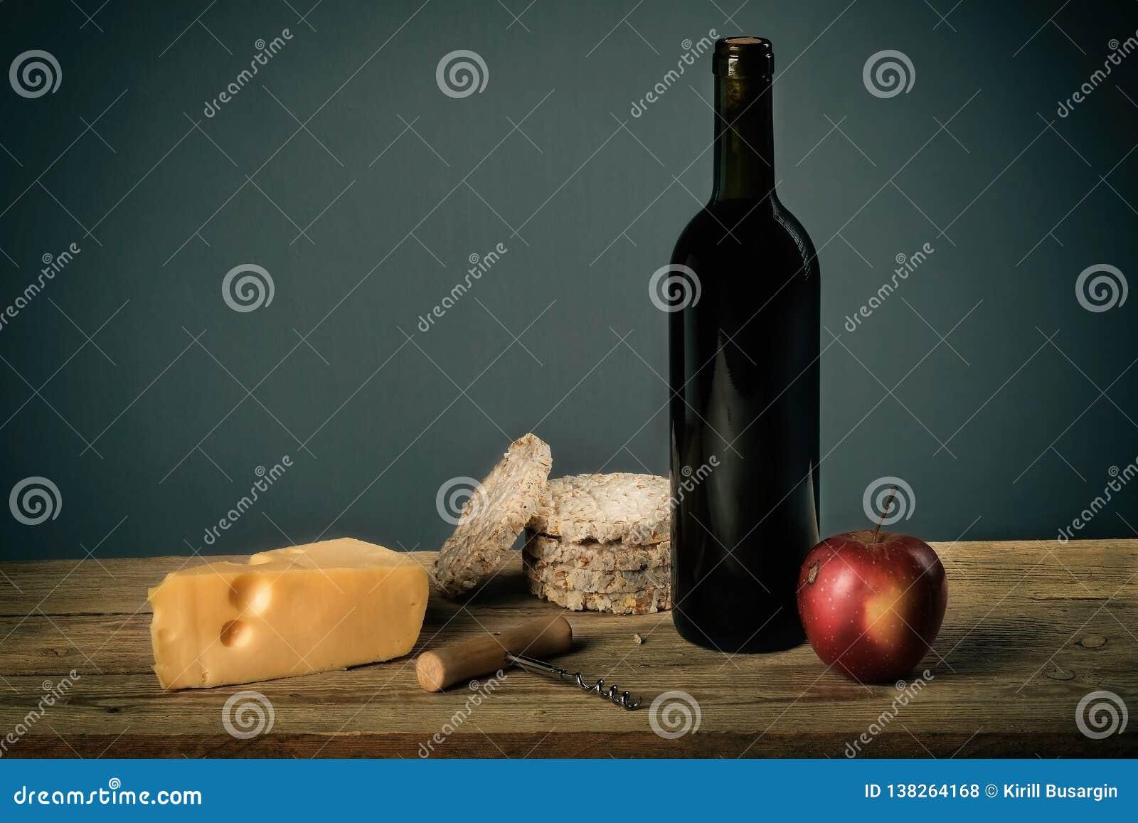 Natura morta con il formaggio della frutta e del vino, cavaturaccioli