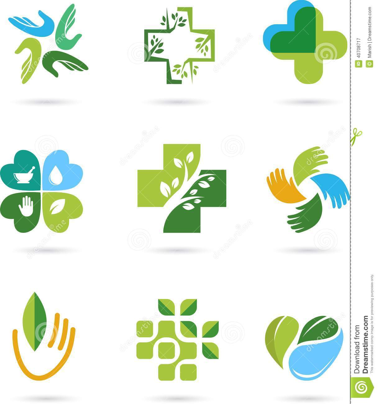 Natural Alternative Herbal Medicine Icons Stock Vector ...