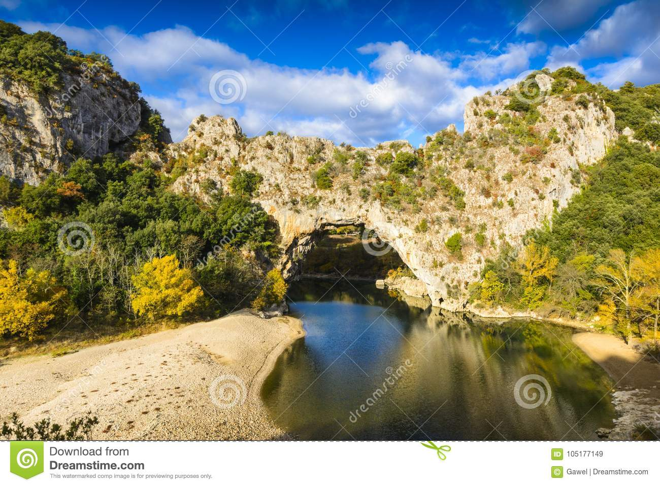 Natural Arch Over The River At Pont D Arc In Ardeche Stock