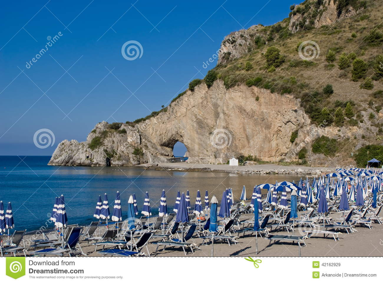 natural arch of rock on the coast of Mediterranean sea in Palinuro ...