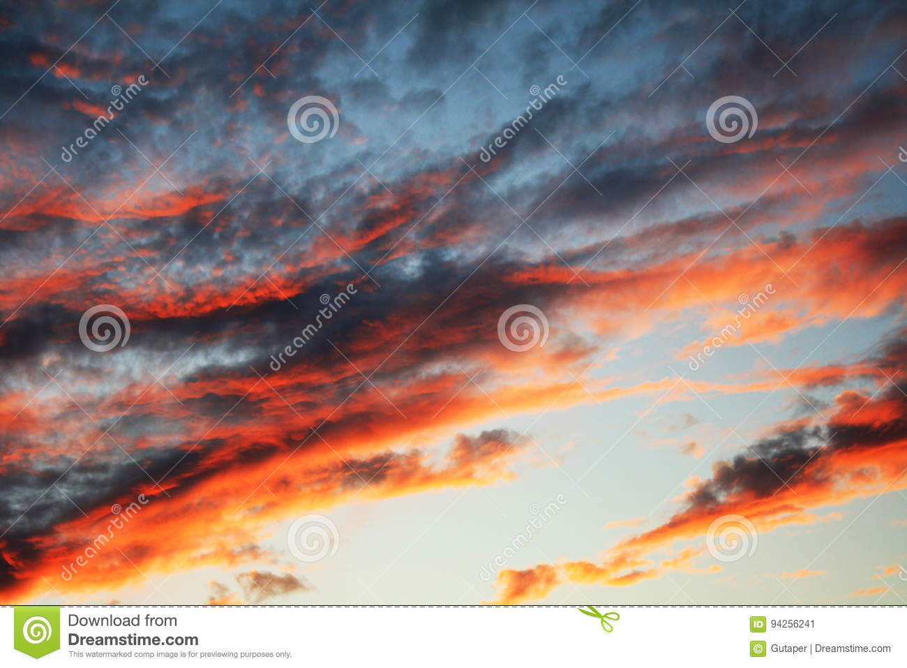 Natural background with a celestial cloudy landscape at sunset
