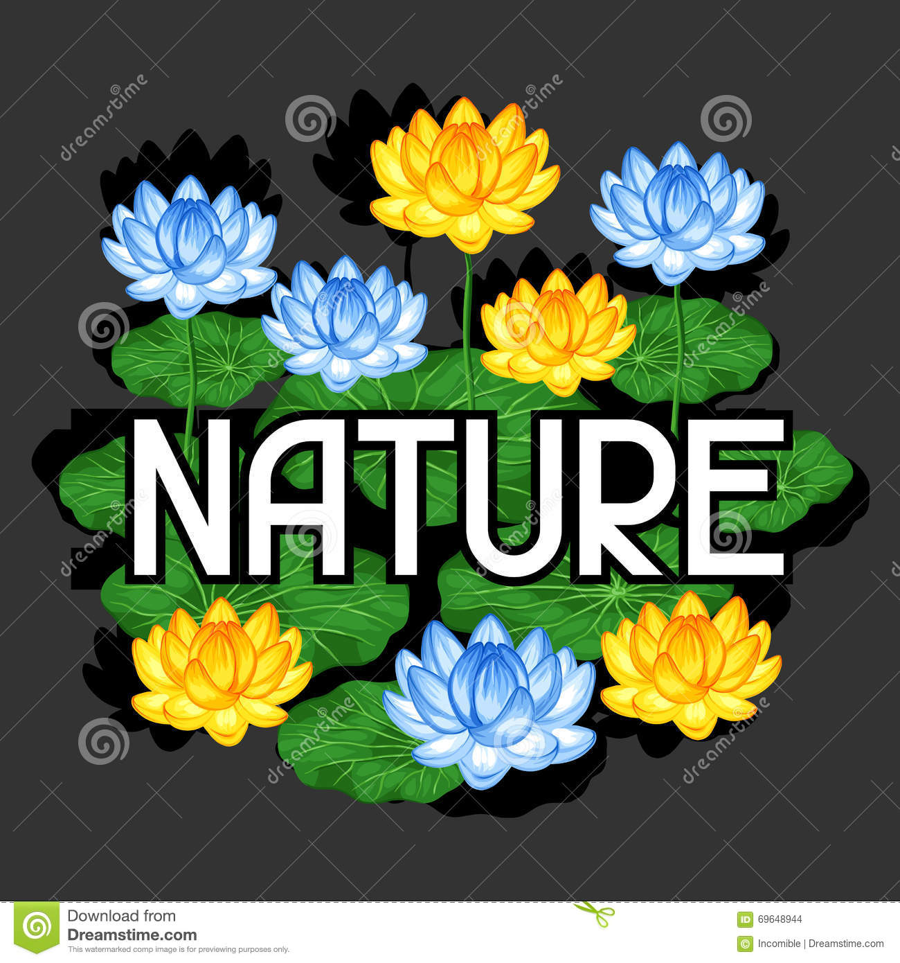 Natural Background With Lotus Flowers And Leaves Stock Vector