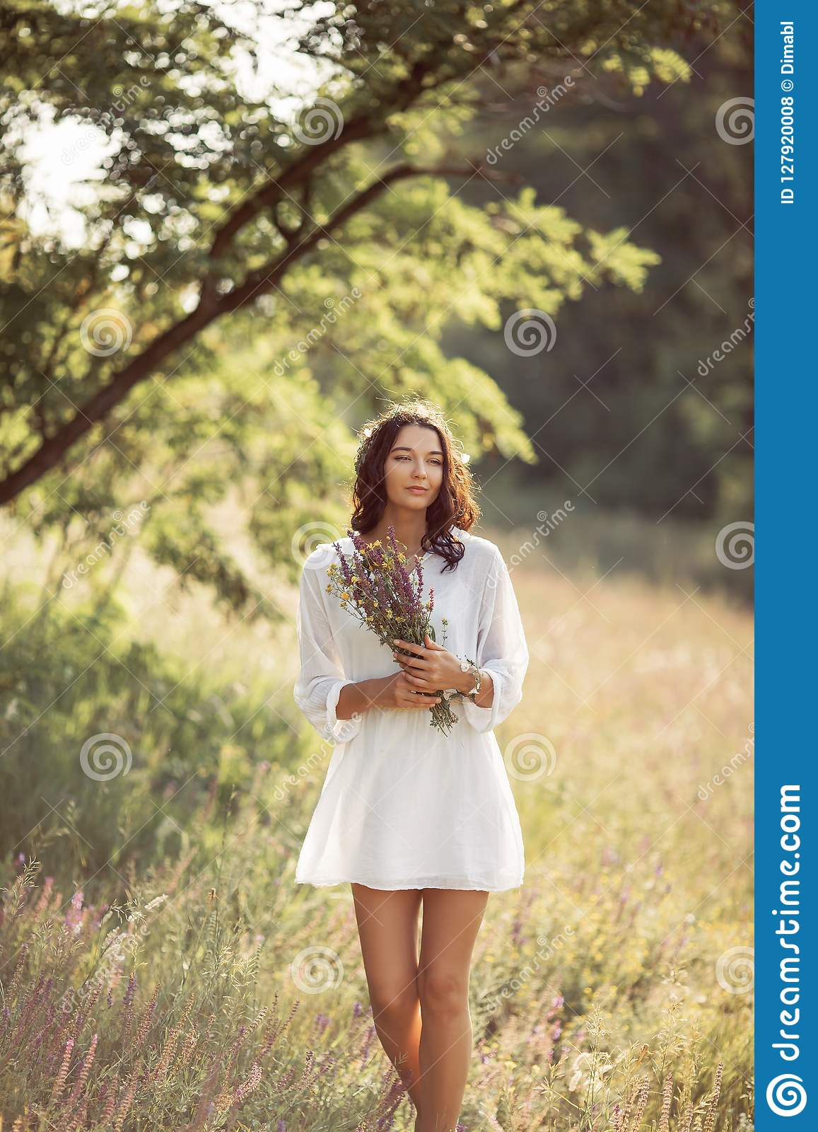 Natural Beauty Girl With Bouquet Of Flowers Outdoor In Freedom Enjoyment Concept Stock Photo Image Of Lifestyle Beauty 127920008