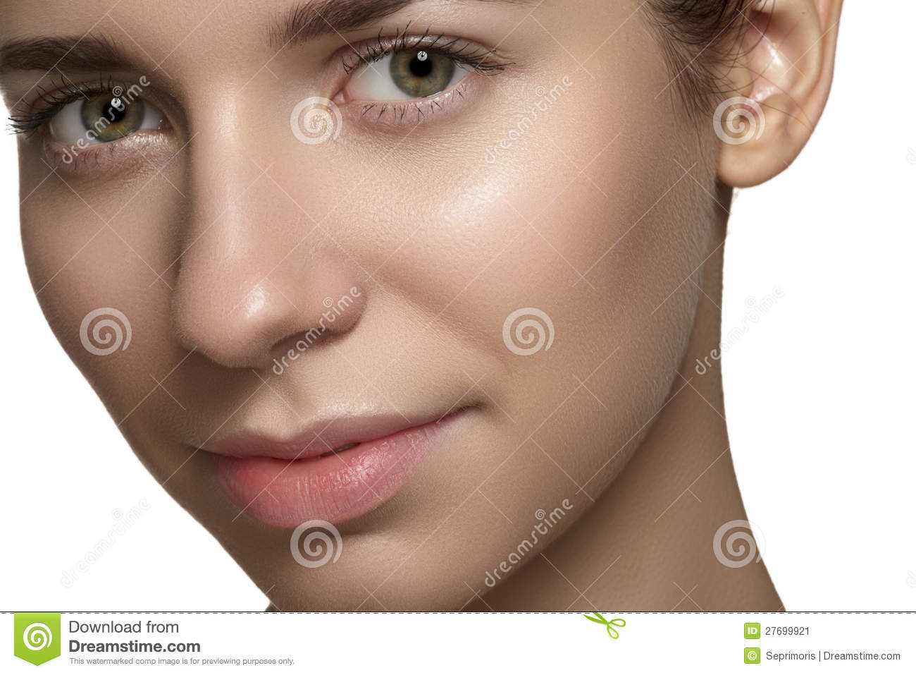 Natural Beauty, Skincare & Make-up. Woman Face With Clean ...