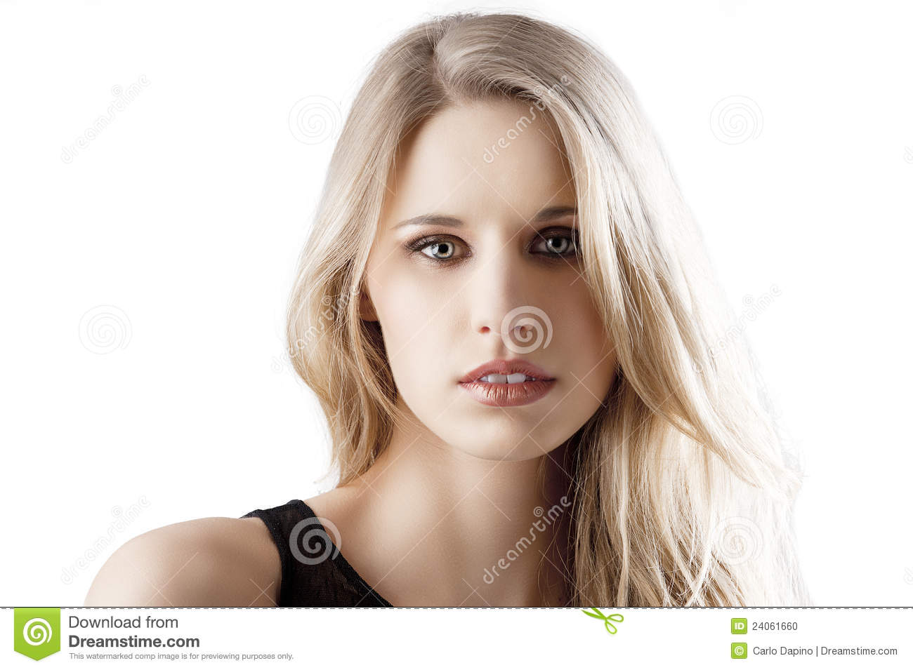 Natural Blond Woman With Mouth Slightly Open Stock Photo - Image ...