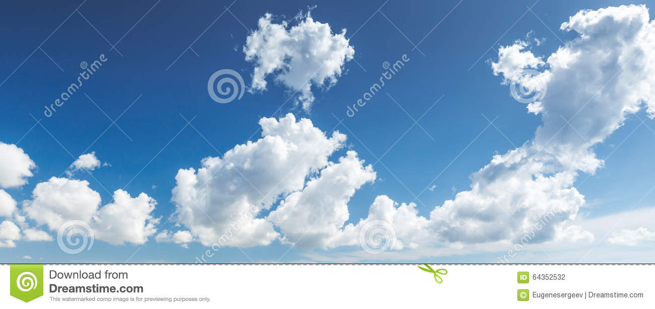 Natural Blue Cloudy Sky. Panoramic Background Stock Photo ...