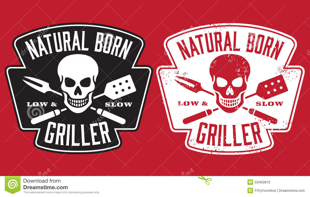 Natural Born Griller barbecue image with skull and crossed utensils.