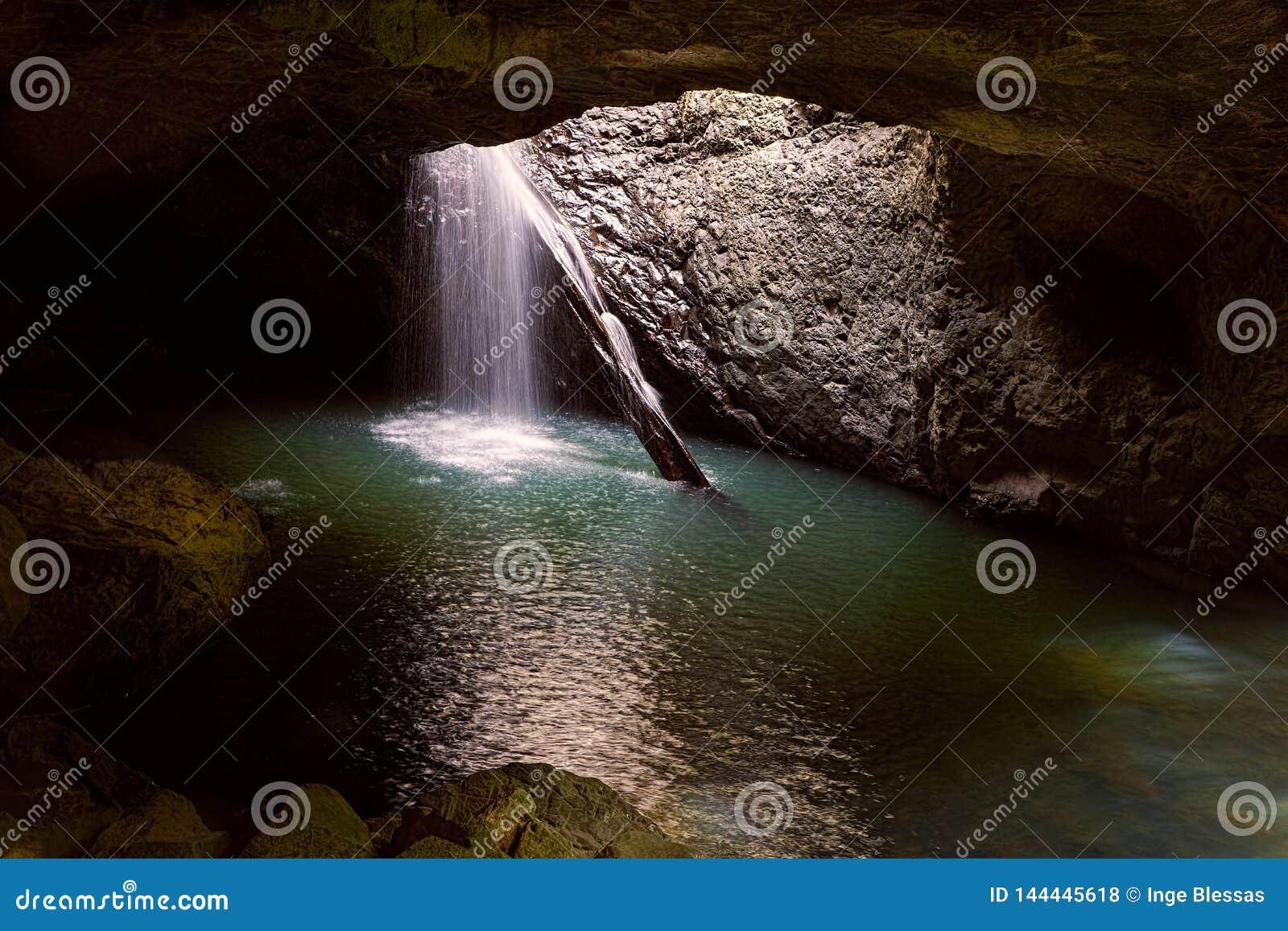 Natural Bridge Cave Waterfall