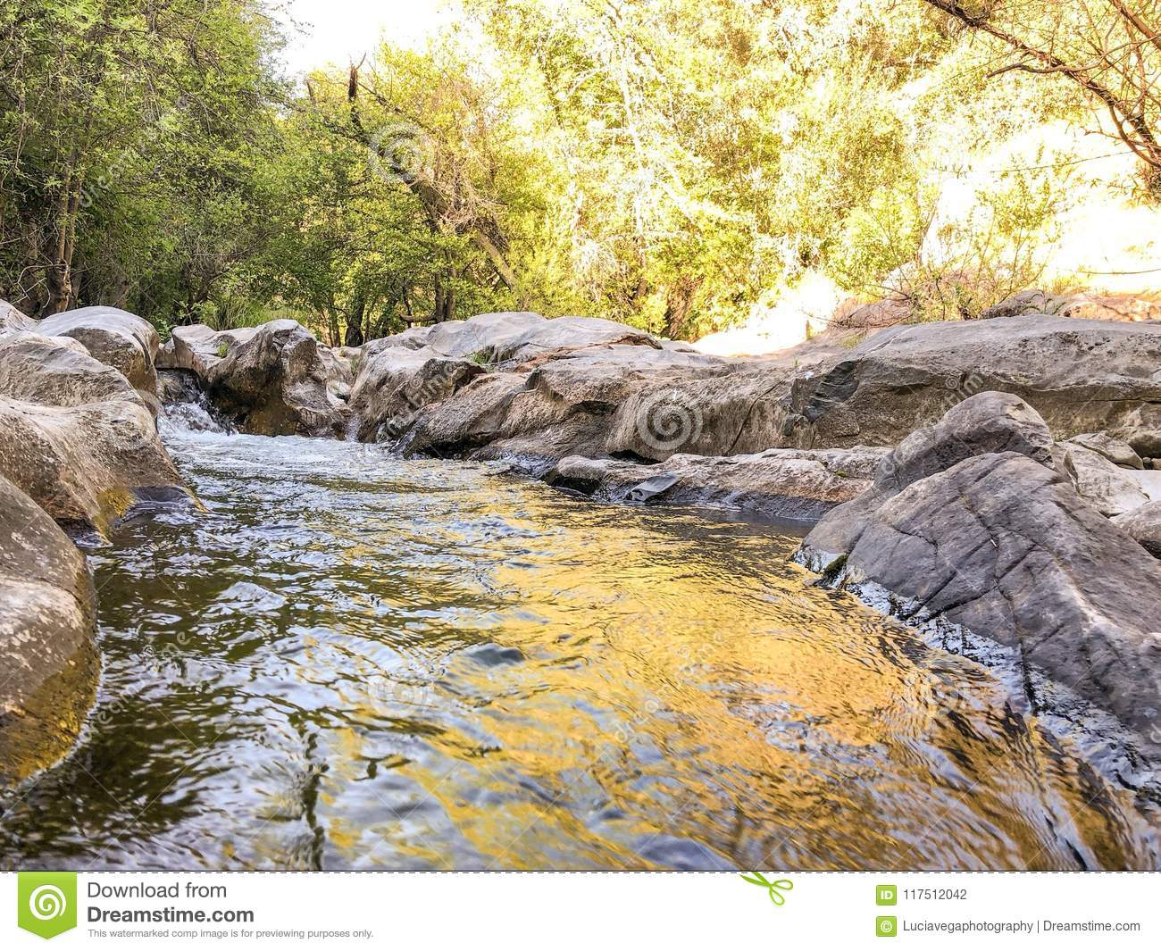 Natural Bridges Flowing River And Minerals Stock Photo - Image of
