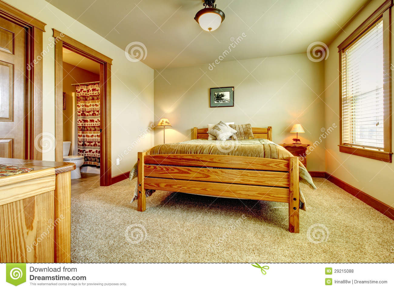 Natural Cabin Farm House Bedroom With Beige Carpet And Green Walls Stock Photo Image