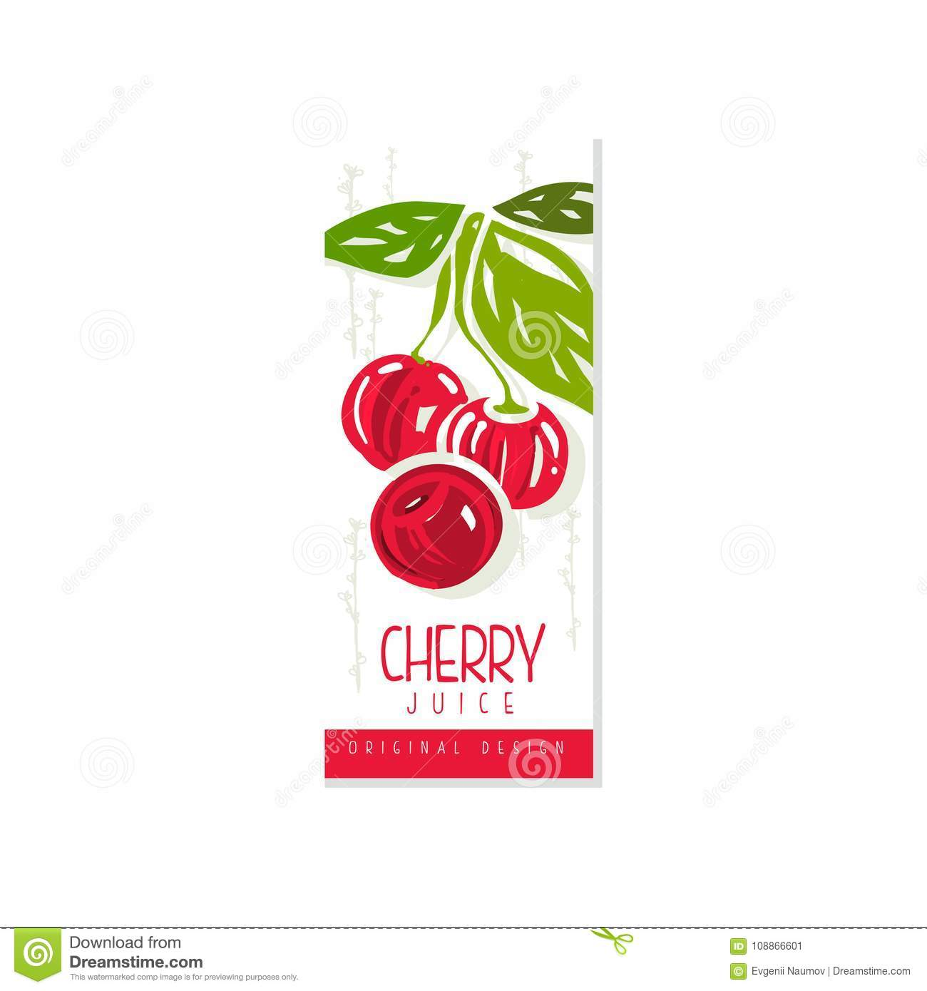 natural cherry juice label template sweet fruit product delicious