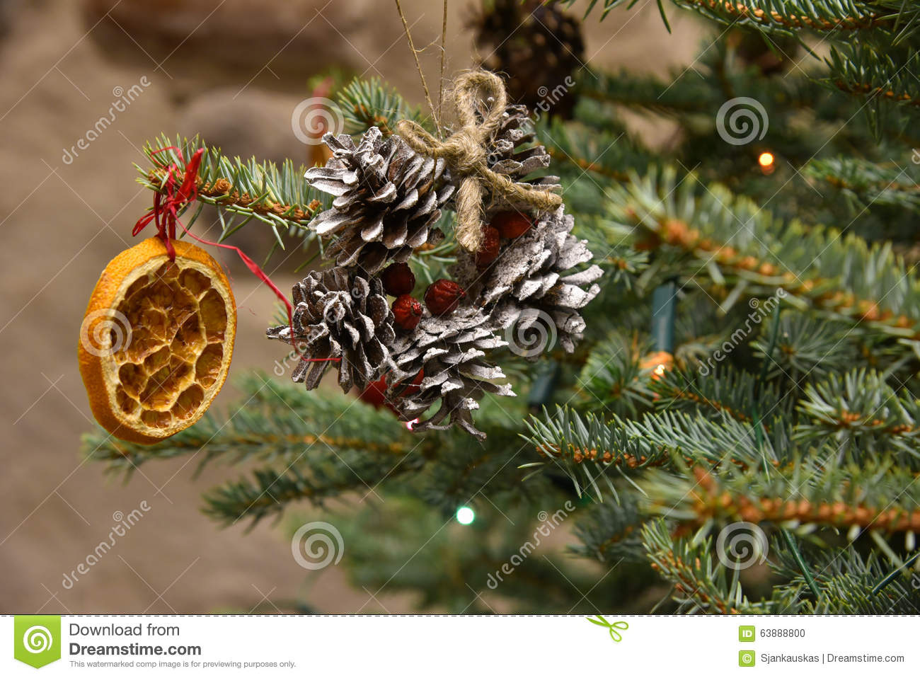 Natural Christmas Tree Decorations Stock Photo Image Of Rustic Celebration 63888800