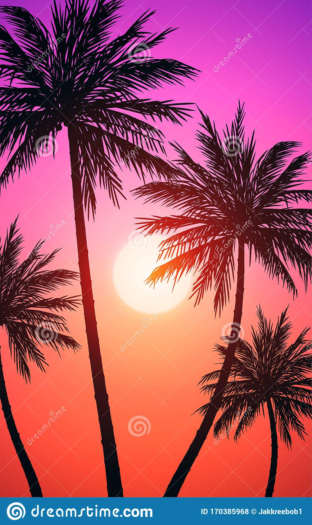 Natural Coconut Trees Silhouettes Of Trees Evening Sunrise And Sunset Landscape Wallpaper Illustration Vector Stock Vector Illustration Of Mountains Hill 170385968