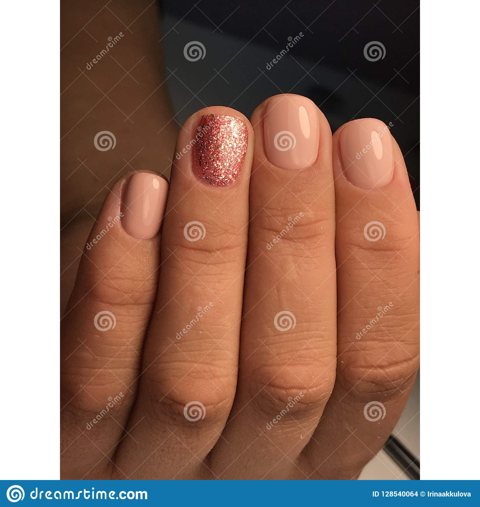 Natural colors in nail art stock photo. Image of technician - 128540064