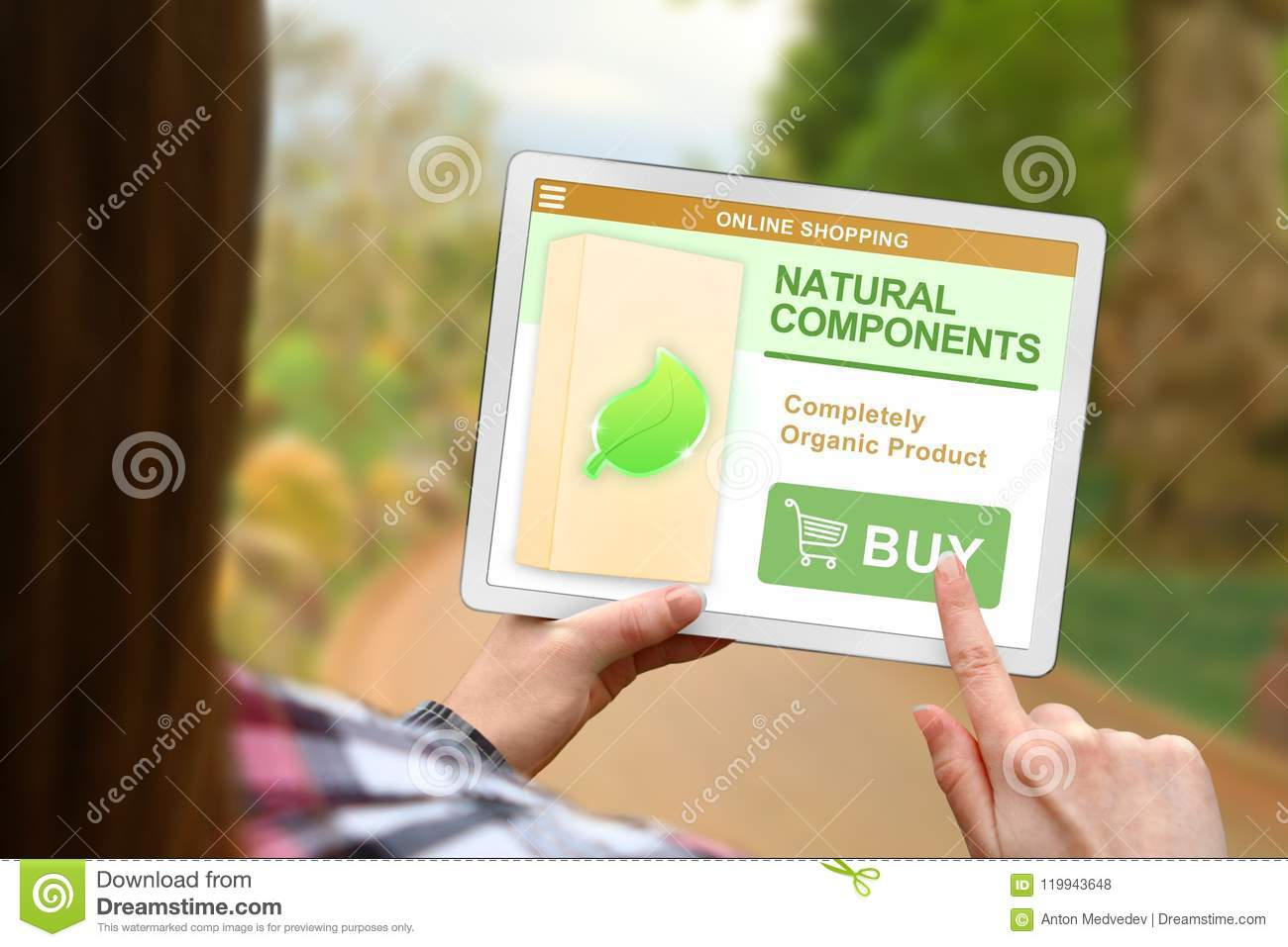Natural Components Concept, Girl Holds The Digital Tablet On