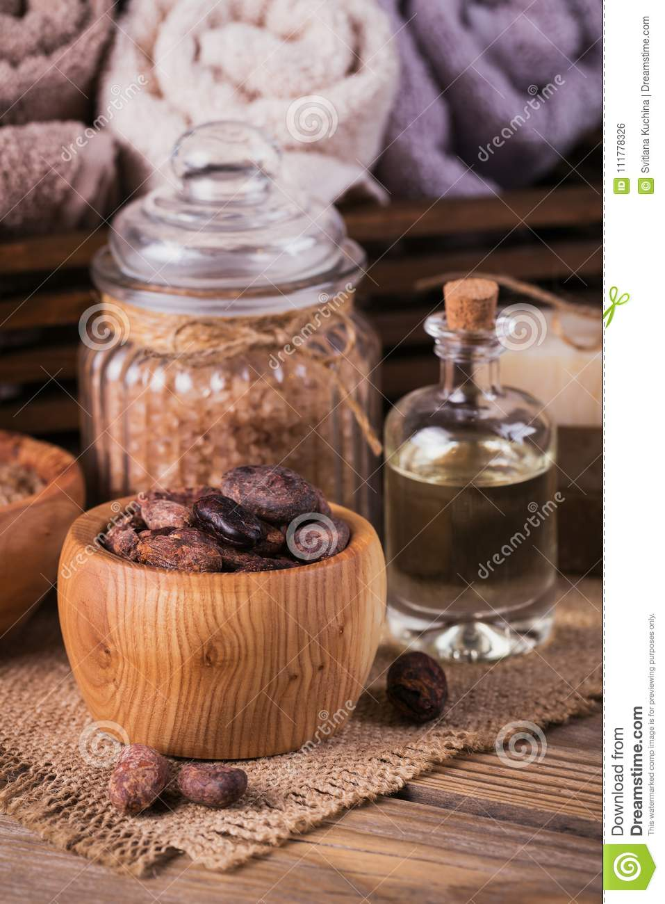 Natural cosmetic oil, sea salt and natural handmade soap with co