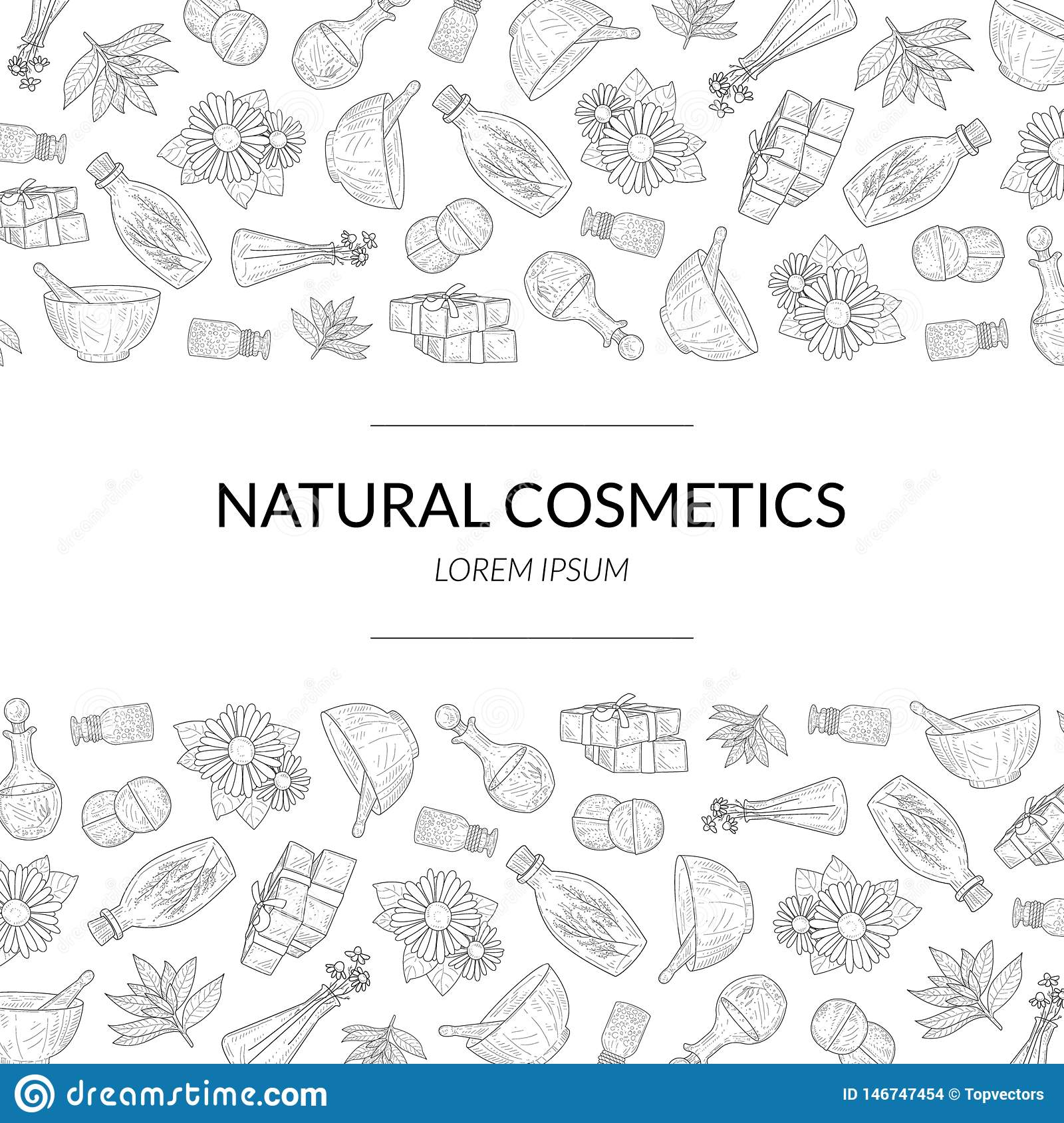 Natural Cosmetics Banner Template, Eco Organic Beauty Care Products Hand Drawn Pattern, Design Element Can Be Used for
