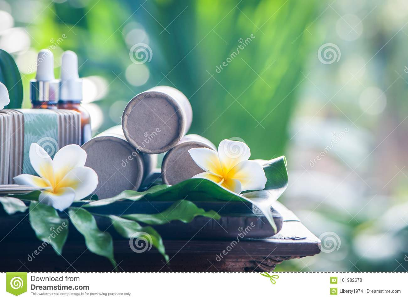 Natural cosmetics on a beautiful tropical background.