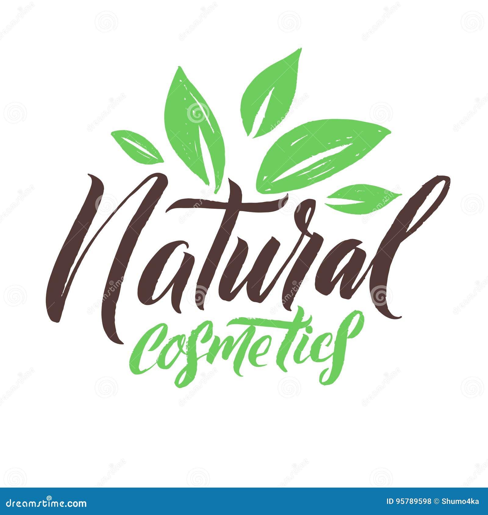 Natural Cosmetics. Logo Beauty Vector Lettering. Custom handmade calligraphy. Vector Illustation.