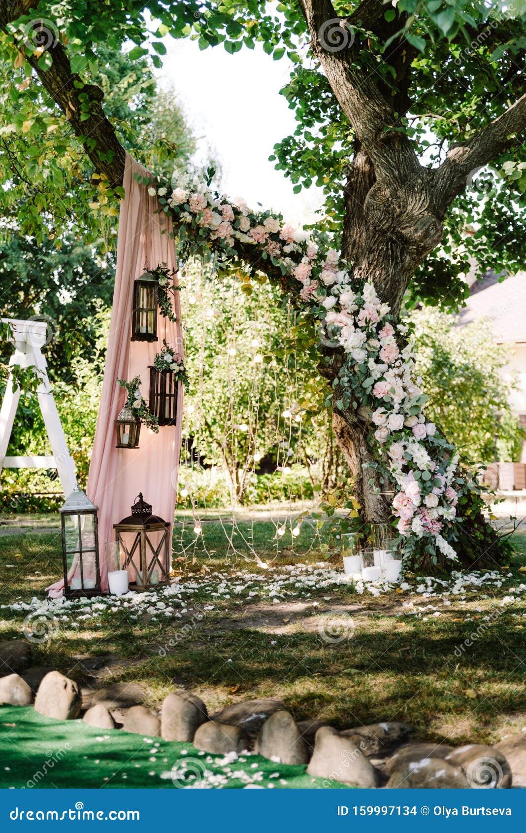 Natural Decor For Summer Elegant Wedding Outdoors Wedding Ceremony Near The Tree Stock Photo Image Of Dinner Decor 159997134