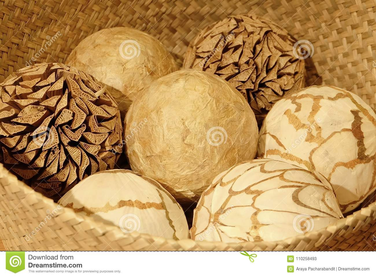 Natural Decorative Balls In A Wooden Basket Stock Image Image Of