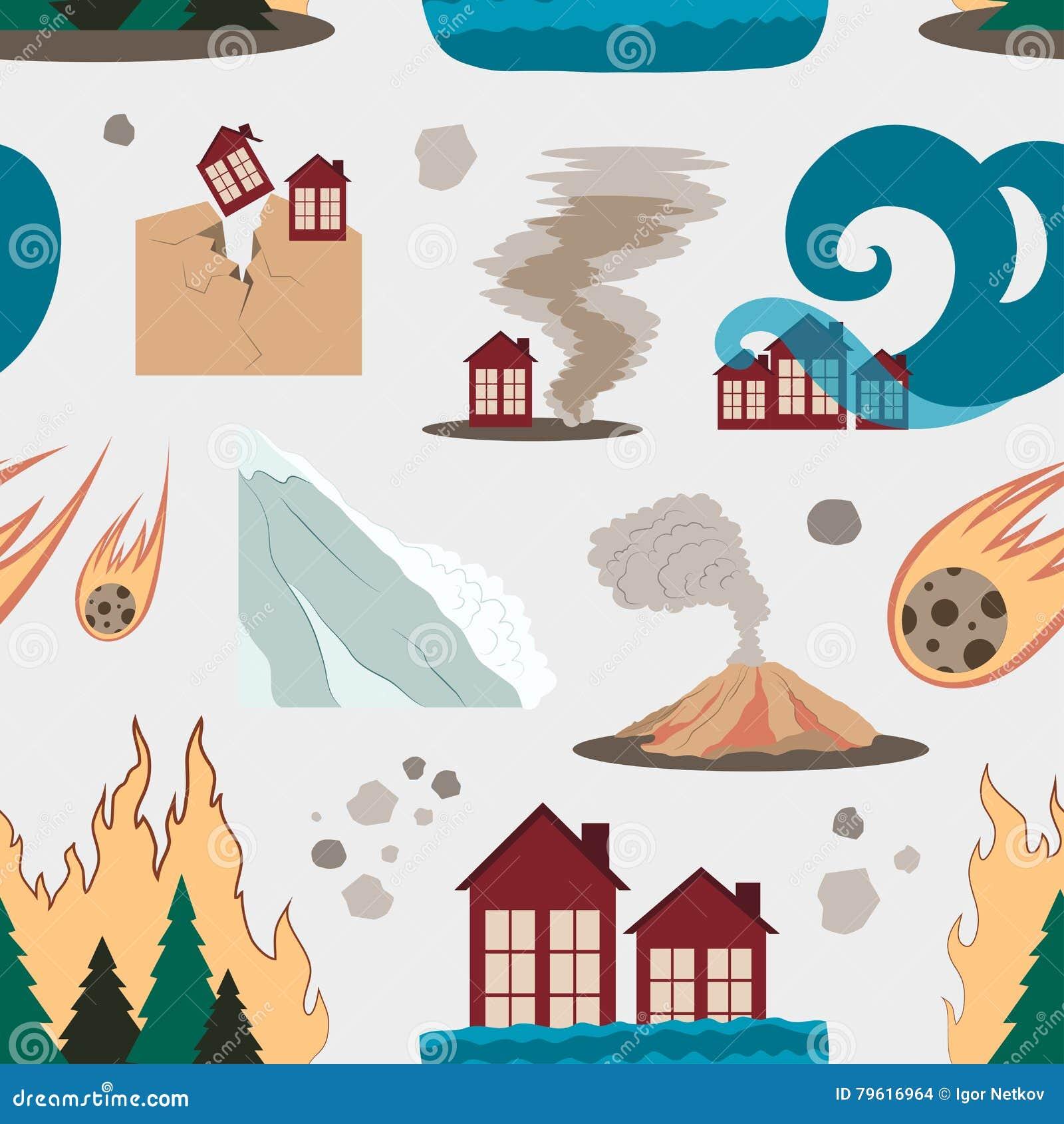 Natural disaster icon set pattern