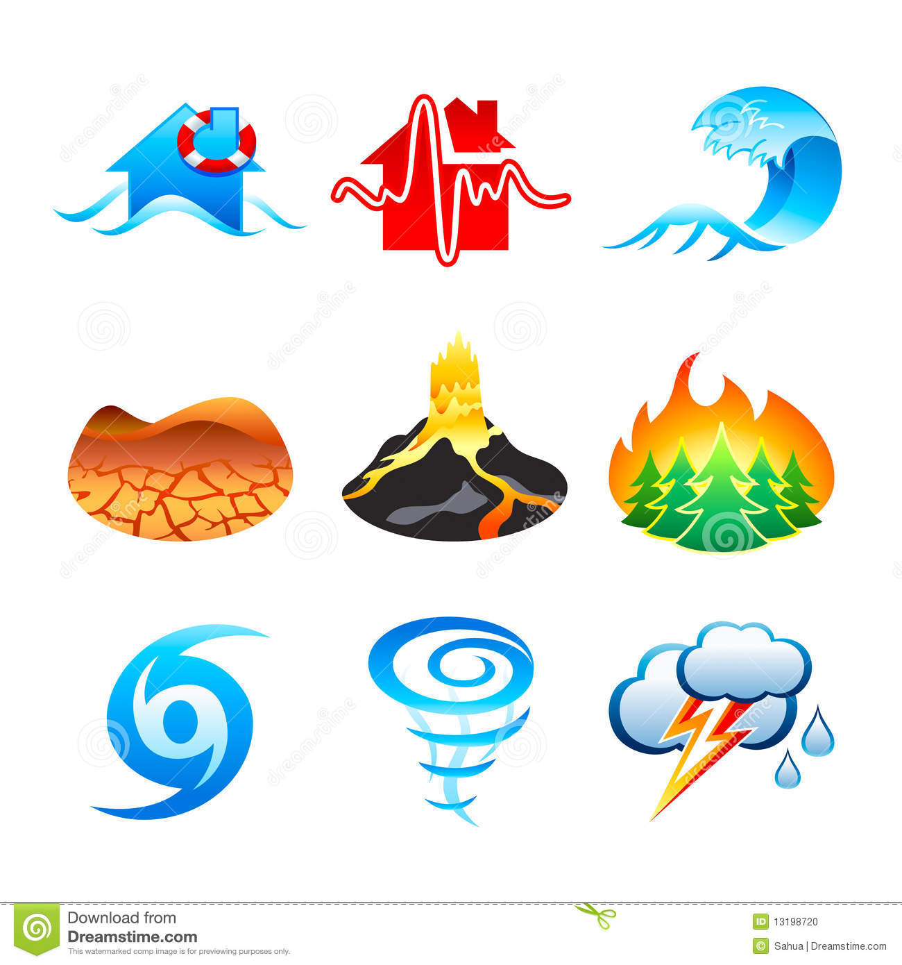 ... eruption, forest fire, hurricane, tornado and thunderstorm icons