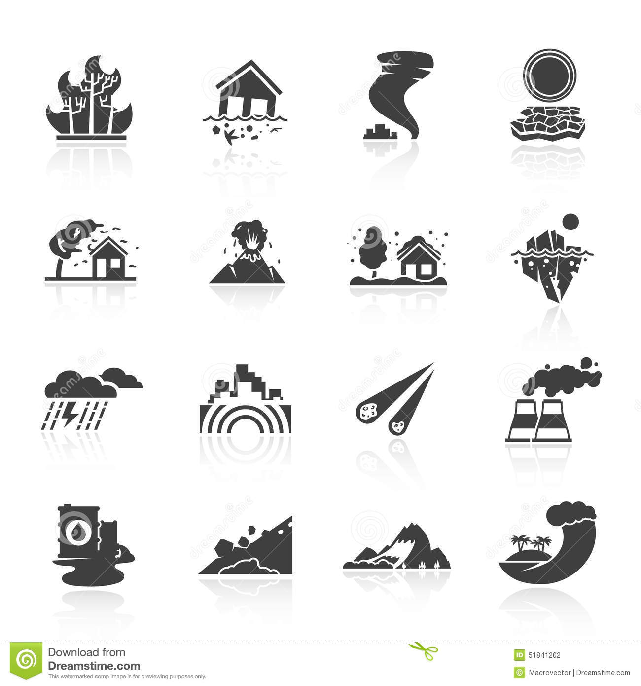 Natural Disaster Icons Stock Vector Image 51841202