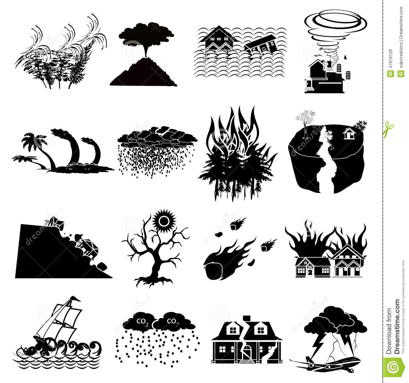 Stock Illustration Natural Disaster Icons Set Black Image47818128 on forest house plans