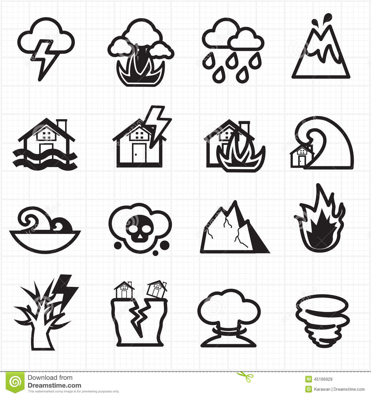 Natural Disaster Icons Vector Stock Vector Image 45166929